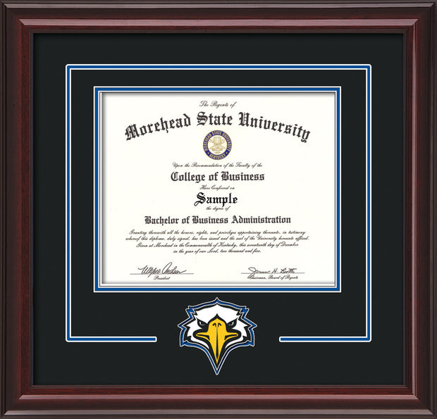 Image of Morehead State University Diploma Frame - Mahogany Lacquer - w/Laser MSU Logo Cutout - Black on Royal Blue mat