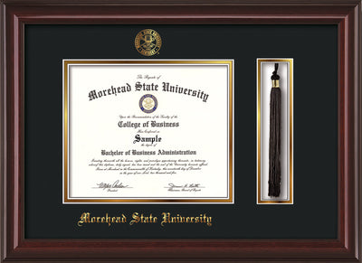 Image of Morehead State Univerity Diploma Frame - Mahogany Lacquer - w/Embossed MSU Seal & Name - Tassel Holder - Black on Gold mat