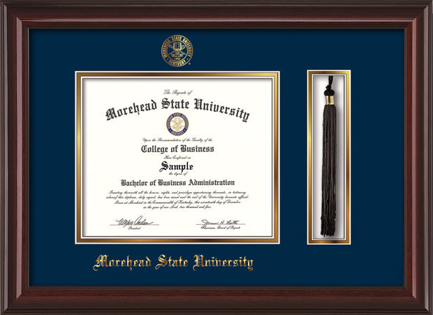 Image of Morehead State Univerity Diploma Frame - Mahogany Lacquer - w/Embossed MSU Seal & Name - Tassel Holder - Navy on Gold mat