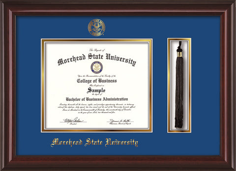 Image of Morehead State Univerity Diploma Frame - Mahogany Lacquer - w/Embossed MSU Seal & Name - Tassel Holder - Royal Blue on Gold mat