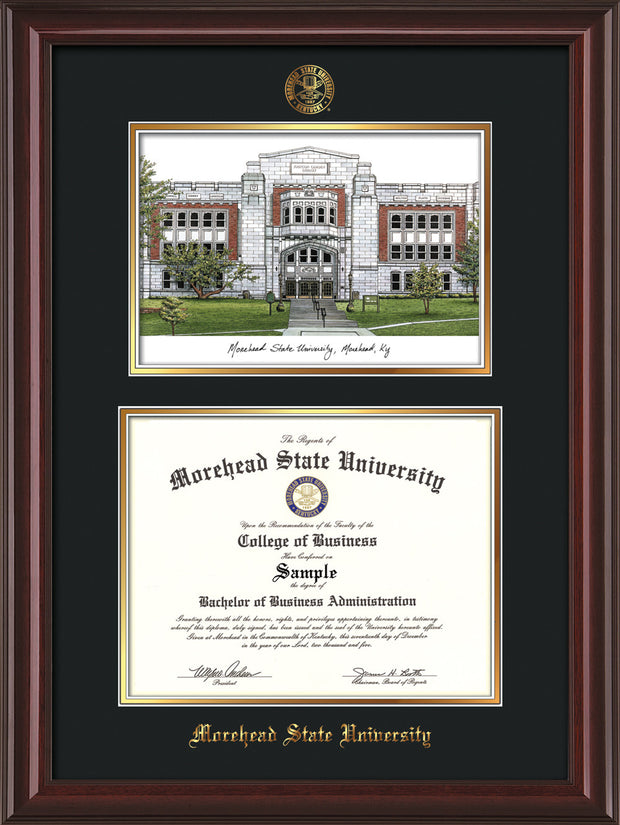Image of Morehead State Univerity Diploma Frame - Mahogany Lacquer - w/Embossed MSU Seal & Name - Watercolor - Black on Gold mat