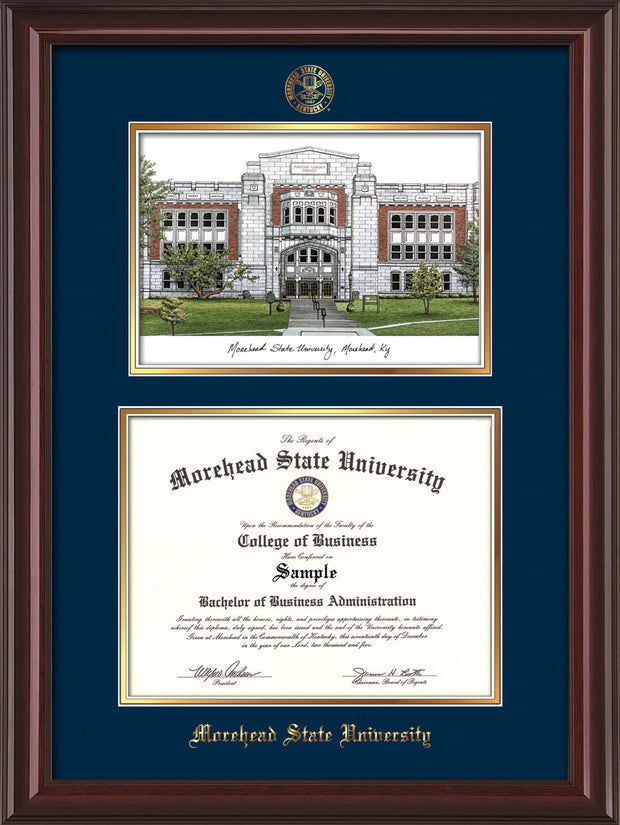 Image of Morehead State Univerity Diploma Frame - Mahogany Lacquer - w/Embossed MSU Seal & Name - Watercolor - Navy on Gold mat