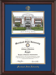 Image of Morehead State Univerity Diploma Frame - Mahogany Lacquer - w/Embossed MSU Seal & Name - Watercolor - Royal Blue on Gold mat