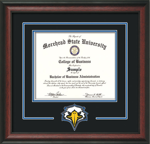 Image of Morehead State University Diploma Frame - Rosewood - w/Laser MSU Logo Cutout - Black on Royal Blue mat