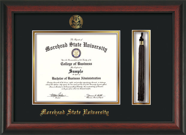 Image of Morehead State Univerity Diploma Frame - Rosewood - w/Embossed MSU Seal & Name - Tassel Holder - Black on Gold mat