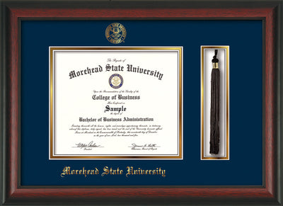 Image of Morehead State Univerity Diploma Frame - Rosewood - w/Embossed MSU Seal & Name - Tassel Holder - Navy on Gold mat