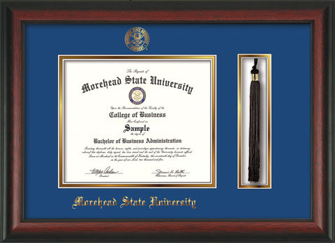 Image of Morehead State Univerity Diploma Frame - Rosewood - w/Embossed MSU Seal & Name - Tassel Holder - Royal Blue on Gold mat