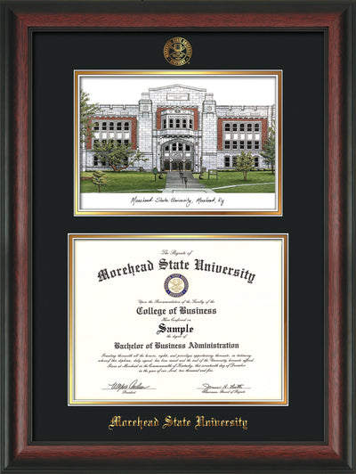 Image of Morehead State Univerity Diploma Frame - Rosewood - w/Embossed MSU Seal & Name - Watercolor - Black on Gold mat