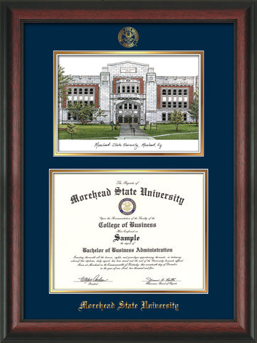 Image of Morehead State Univerity Diploma Frame - Rosewood - w/Embossed MSU Seal & Name - Watercolor - Navy on Gold mat