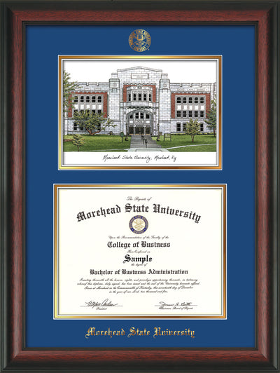 Image of Morehead State Univerity Diploma Frame - Rosewood - w/Embossed MSU Seal & Name - Watercolor - Royal Blue on Gold mat