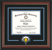 Image of Morehead State University Diploma Frame - Rosewood w/Gold Lip - w/Laser MSU Logo Cutout - Black on Royal Blue mat