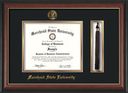 Image of Morehead State Univerity Diploma Frame - Rosewood w/Gold Lip - w/Embossed MSU Seal & Name - Tassel Holder - Black on Gold mat