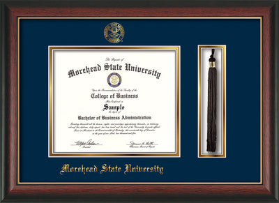 Image of Morehead State Univerity Diploma Frame - Rosewood w/Gold Lip - w/Embossed MSU Seal & Name - Tassel Holder - Navy on Gold mat