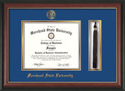 Image of Morehead State Univerity Diploma Frame - Rosewood w/Gold Lip - w/Embossed MSU Seal & Name - Tassel Holder - Royal Blue on Gold mat