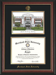 Image of Morehead State Univerity Diploma Frame - Rosewood w/Gold Lip - w/Embossed MSU Seal & Name - Watercolor - Black on Gold mat
