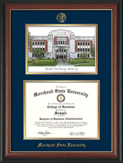 Image of Morehead State Univerity Diploma Frame - Rosewood w/Gold Lip - w/Embossed MSU Seal & Name - Watercolor - Navy on Gold mat