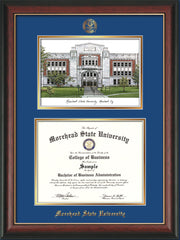 Image of Morehead State Univerity Diploma Frame - Rosewood w/Gold Lip - w/Embossed MSU Seal & Name - Watercolor - Royal Blue on Gold mat