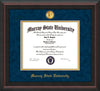 Image of Murray State University Diploma Frame - Mahogany Braid - w/24k Gold-Plated Medallion & Murray Name Embossing - Navy Suede on Gold mats