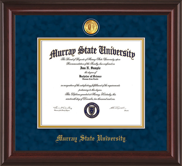 Image of Murray State University Diploma Frame - Mahogany Lacquer - w/24k Gold-Plated Medallion & Murray Name Embossing - Navy Suede on Gold mats
