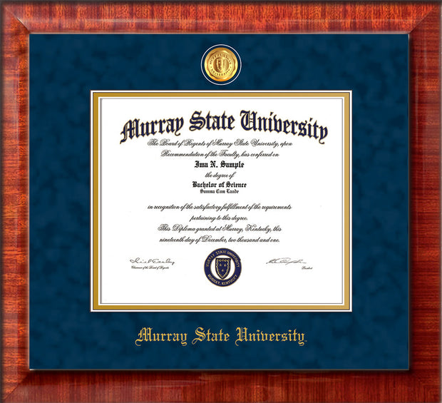 Image of Murray State University Diploma Frame - Mezzo Gloss - w/24k Gold-Plated Medallion & Murray Name Embossing - Navy Suede on Gold mats