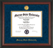 Image of Murray State University Diploma Frame - Rosewood - w/24k Gold-Plated Medallion & Murray Name Embossing - Navy Suede on Gold mats