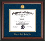 Image of Murray State University Diploma Frame - Rosewood w/Gold Lip - w/24k Gold-Plated Medallion & Murray Name Embossing - Navy Suede on Gold mats