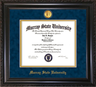 Image of Murray State University Diploma Frame - Vintage Black Scoop - w/24k Gold-Plated Medallion & Murray Name Embossing - Navy Suede on Gold mats