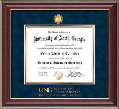 Image of University of North Georgia Diploma Frame - Cherry Lacquer - w/24k Gold-Plated Military Medallion & Military Wordmark Embossing - Navy Suede on Gold mats
