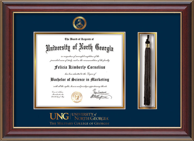 Image of University of North Georgia Diploma Frame - Cherry Lacquer - w/Embossed Military Seal & Military Wordmark - Tassel Holder - Navy on Gold mat