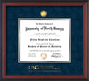 Image of University of North Georgia Diploma Frame - Cherry Reverse - w/24k Gold-Plated Military Medallion & Military Wordmark Embossing - Navy Suede on Gold mats