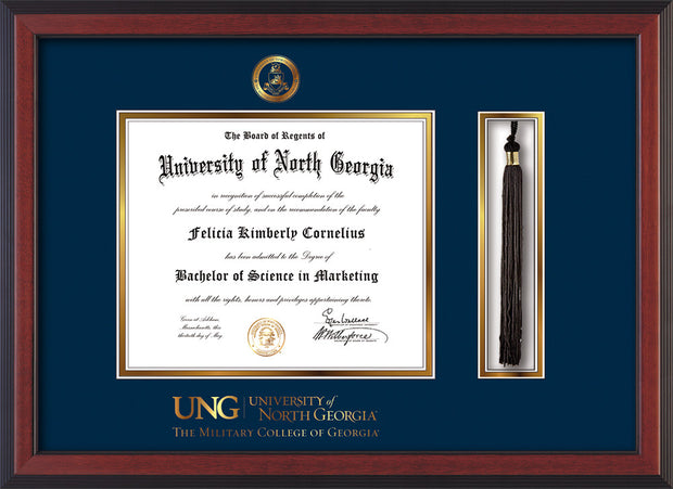 Image of University of North Georgia Diploma Frame - Cherry Reverse - w/Embossed Military Seal & Military Wordmark - Tassel Holder - Navy on Gold mat