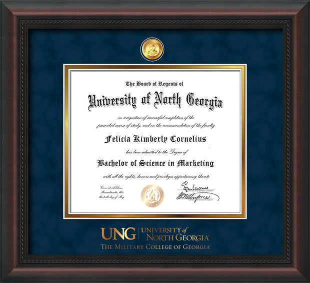 Image of University of North Georgia Diploma Frame - Mahogany Braid - w/24k Gold-Plated Military Medallion & Military Wordmark Embossing - Navy Suede on Gold mats