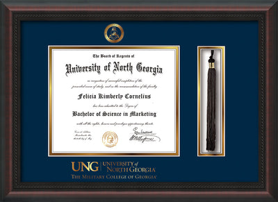 Image of University of North Georgia Diploma Frame - Mahogany Braid - w/Embossed Military Seal & Military Wordmark - Tassel Holder - Navy on Gold mat