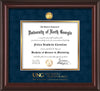 Image of University of North Georgia Diploma Frame - Mahogany Lacquer - w/24k Gold-Plated Military Medallion & Military Wordmark Embossing - Navy Suede on Gold mats