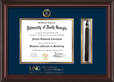 Image of University of North Georgia Diploma Frame - Mahogany Lacquer - w/Embossed Military Seal & Military Wordmark - Tassel Holder - Navy on Gold mat
