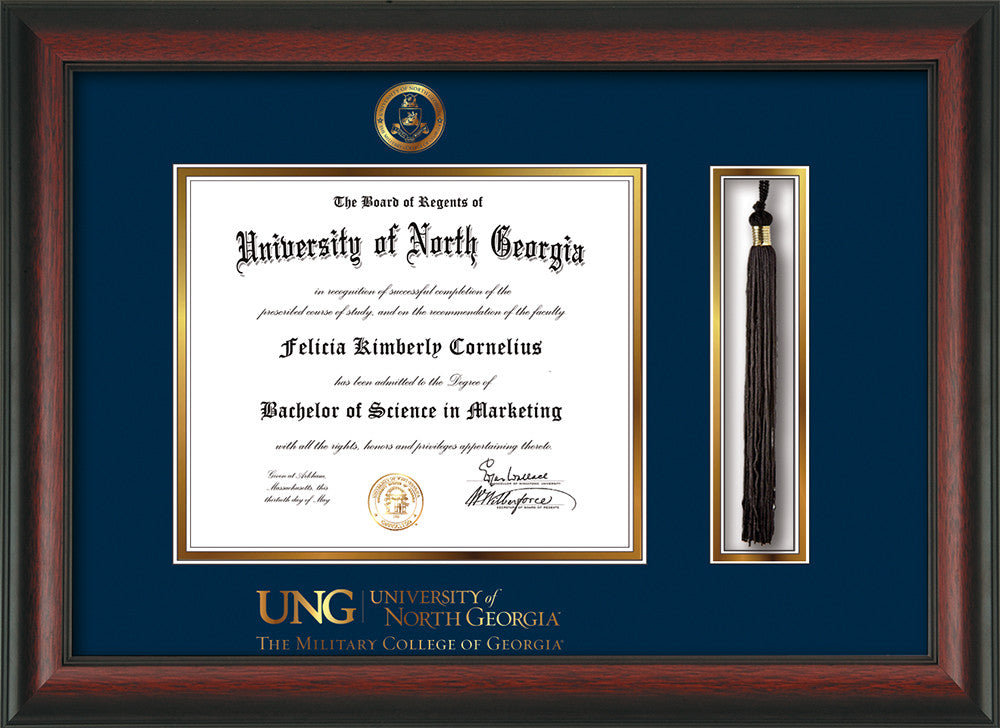 image of university of north georgia diploma frame rosewood wembossed military seal - Military Frames