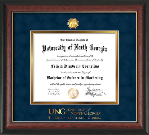 Image of University of North Georgia Diploma Frame - Rosewood w/Gold Lip - w/24k Gold-Plated Military Medallion & Military Wordmark Embossing - Navy Suede on Gold mats