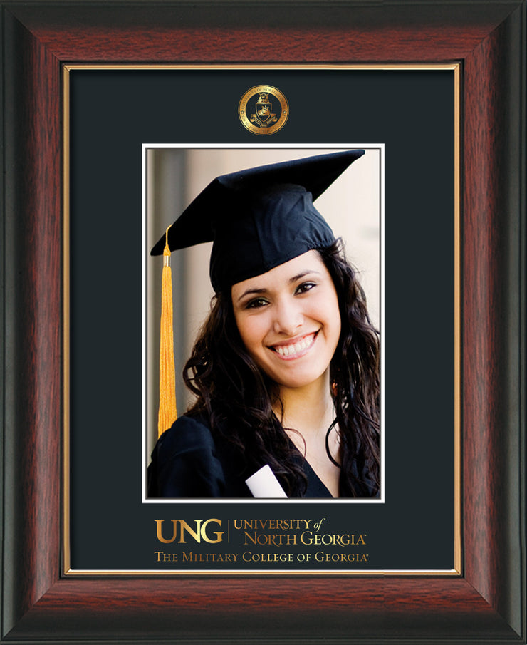 Image of University of North Georgia 5 x 7 Photo Frame - Rosewood w/Gold Lip - w/Official Embossing of Military Seal & Military Wordmark - Single Black mat