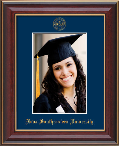 Image of Nova Southeastern University 5 x 7 Photo Frame - Cherry Lacquer - w/Official Embossing of NSU Seal & Name - Single Navy mat