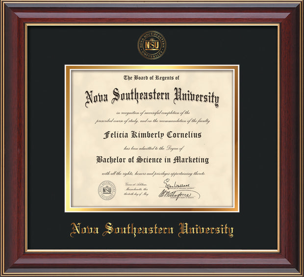 Image of Nova Southeastern University Diploma Frame - Cherry Lacquer - w/Embossed NSU Seal & Name - Black on Gold mat