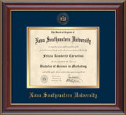 Image of Nova Southeastern University Diploma Frame - Cherry Lacquer - w/Embossed NSU Seal & Name - Navy on Gold mat