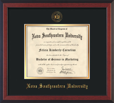 Image of Nova Southeastern University Diploma Frame - Cherry Reverse - w/Embossed NSU Seal & Name - Black on Gold mat