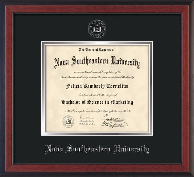 Image of Nova Southeastern University Diploma Frame - Cherry Reverse - w/Silver Embossed NSU Seal & Name - Black on Silver mat