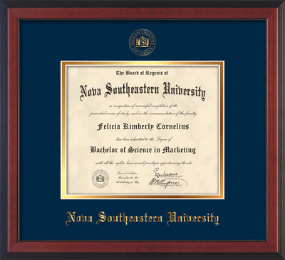 Image of Nova Southeastern University Diploma Frame - Cherry Reverse - w/Embossed NSU Seal & Name - Navy on Gold mat