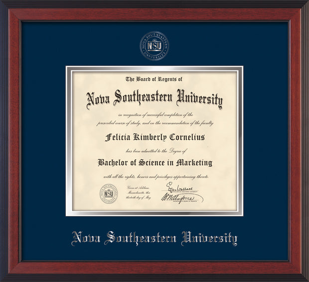 Image of Nova Southeastern University Diploma Frame - Cherry Reverse - w/Silver Embossed NSU Seal & Name - Navy on Silver mat