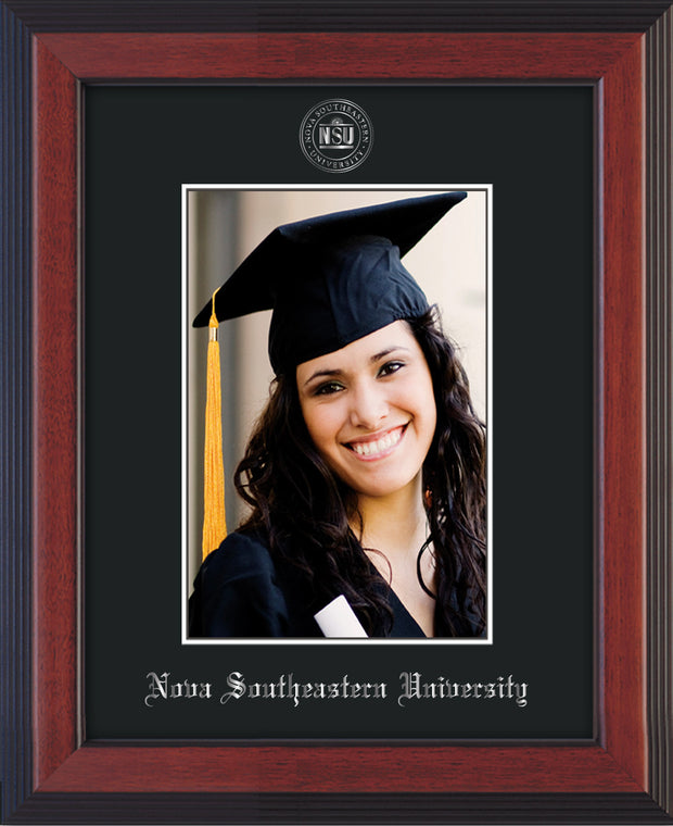 Image of Nova Southeastern University 5 x 7 Photo Frame - Cherry Reverse - w/Official Silver Embossing of NSU Seal & Name - Single Black mat