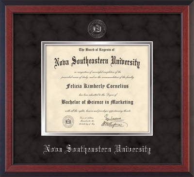 Image of Nova Southeastern University Diploma Frame - Cherry Reverse - w/Silver Embossed NSU Seal & Name - Black Suede on Silver mat