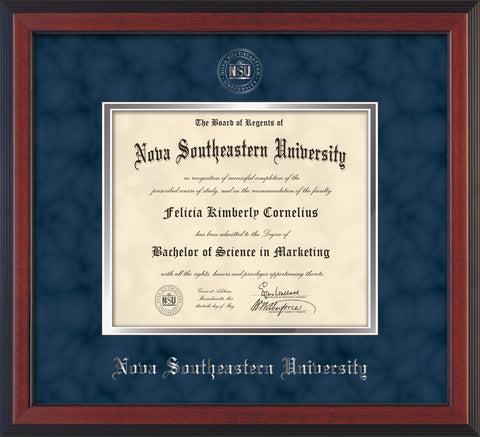 Image of Nova Southeastern University Diploma Frame - Cherry Reverse - w/Silver Embossed NSU Seal & Name - Navy Suede on Silver mat