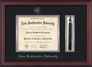 Image of Nova Southeastern University Diploma Frame - Cherry Reverse - w/Silver Embossed NSU Seal & Name - Tassel Holder - Black on Silver mat