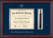 Image of Nova Southeastern University Diploma Frame - Cherry Reverse - w/Silver Embossed NSU Seal & Name - Tassel Holder - Navy on Silver mat